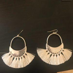 Silver earrings with ivory tassels